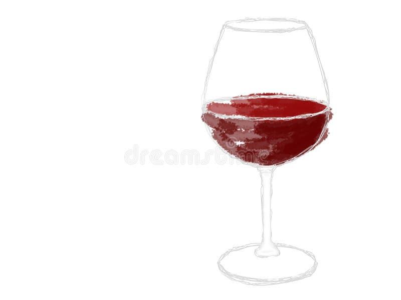 Een glas rode wijn royalty-vrije illustratie