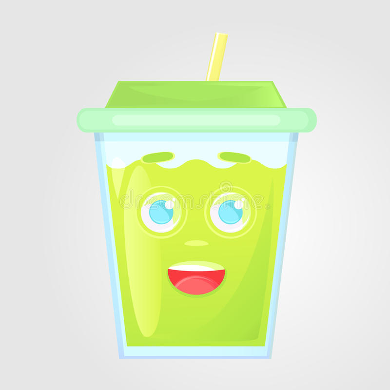Een glas sap met een deksel en een buis De drank van de zomer Emotioneel pictogram, emotie van geluk, pret stock illustratie