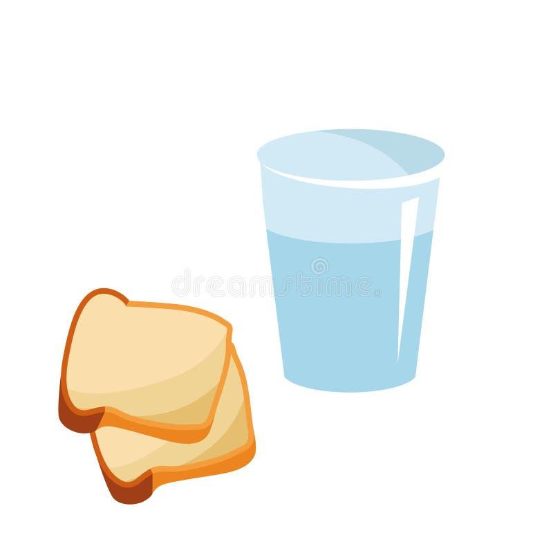 Een glas zuiver water en twee boterhammen voor het begin van Geleend Verminderde maaltijd in Geleend met brood en water stock illustratie
