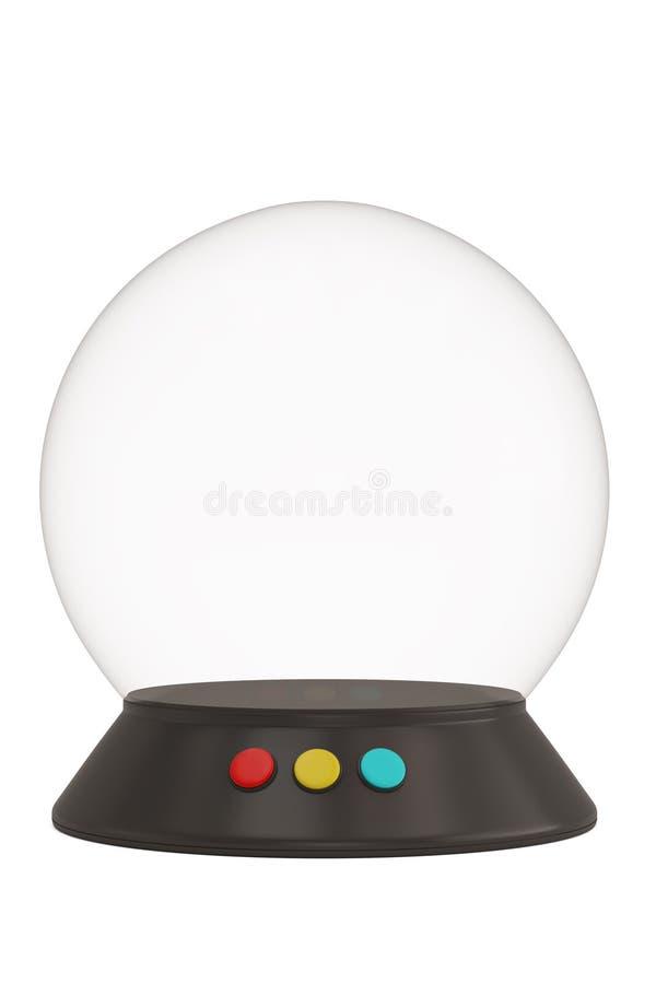 Een glasklok met basis op witte 3D illustratie wordt geïsoleerd die als achtergrond stock foto's