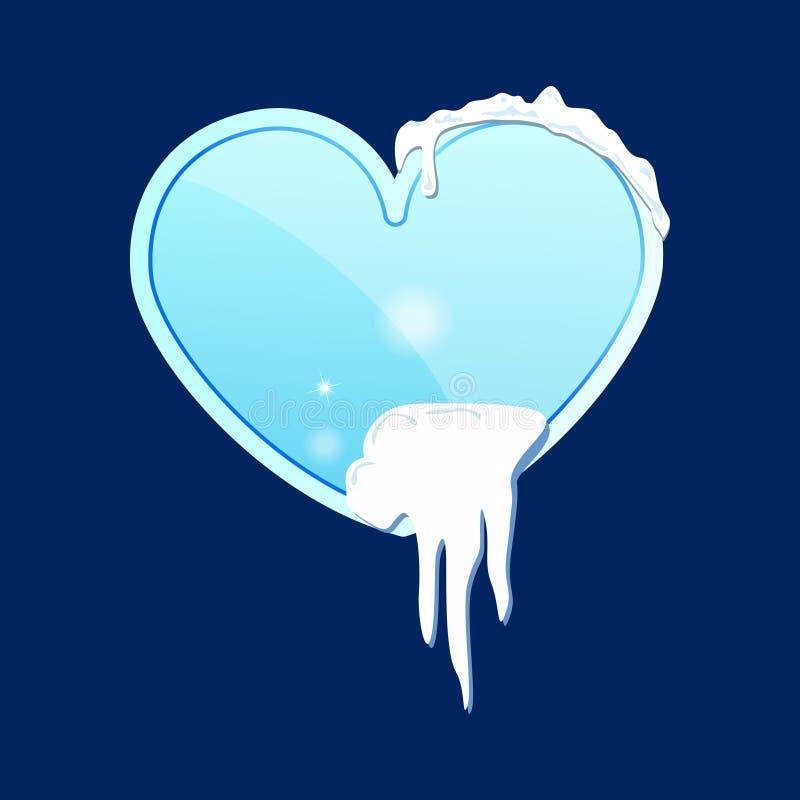 Een glasstuk van ijs in een hartvorm met sneeuw op een blauwe achtergrond Vector illustratie stock illustratie