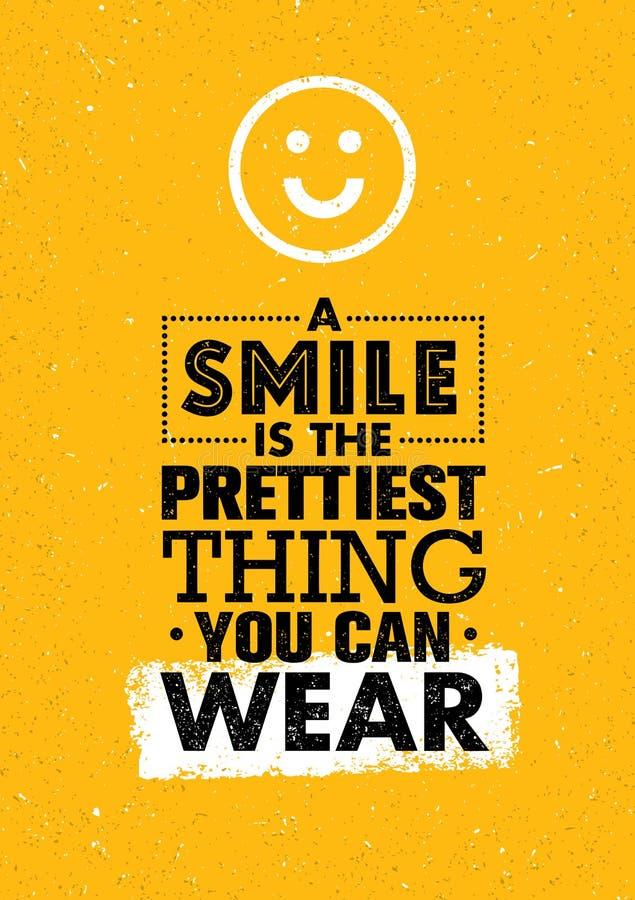Een Glimlach is het Prettiest-Ding u kunt dragen Positief die Creatief Motivatiecitaat inspireren Het vectorconcept van het Banne stock illustratie