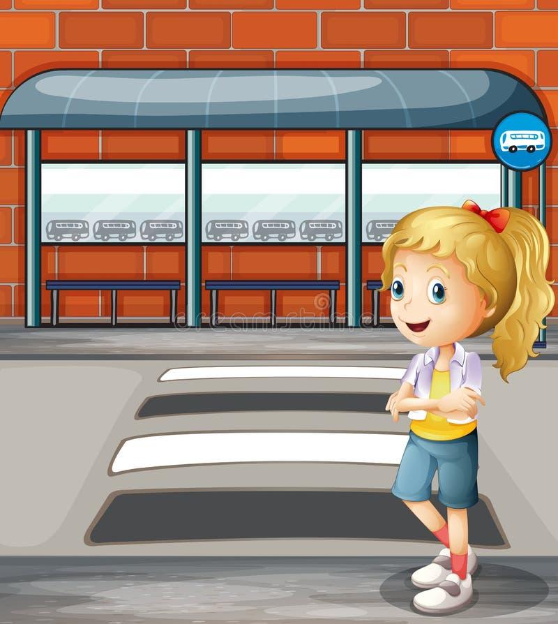 Een glimlachende jonge vrouw die zich dichtbij de voetsteeg bevinden vector illustratie