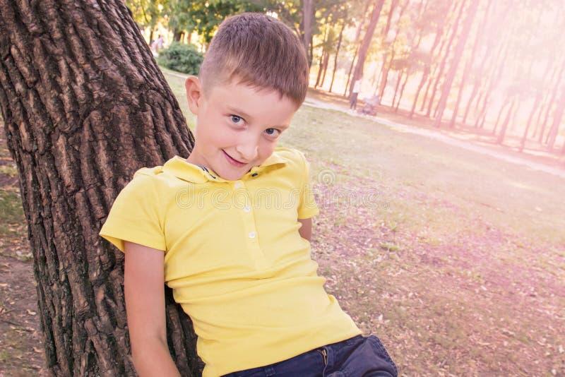 Een glimlachende jongen in geel overhemd die op de boomboomstam liggen royalty-vrije stock afbeeldingen