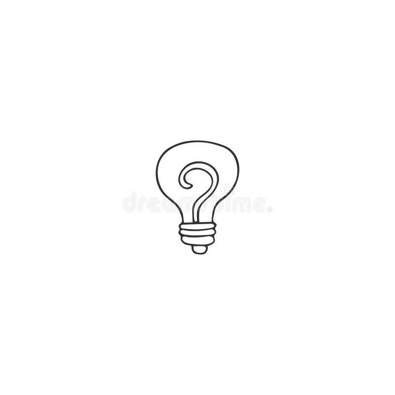 Een gloeilamp, vectorhand getrokken pictogram Een symbool van creatief idee vector illustratie