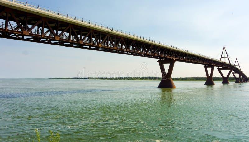 Een goed-gebouwde brug over de mackenzierivier stock afbeeldingen