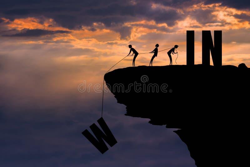 Een goed groepswerk is een goede bevoegdheid TE WINNEN: Succesconcept stock afbeelding