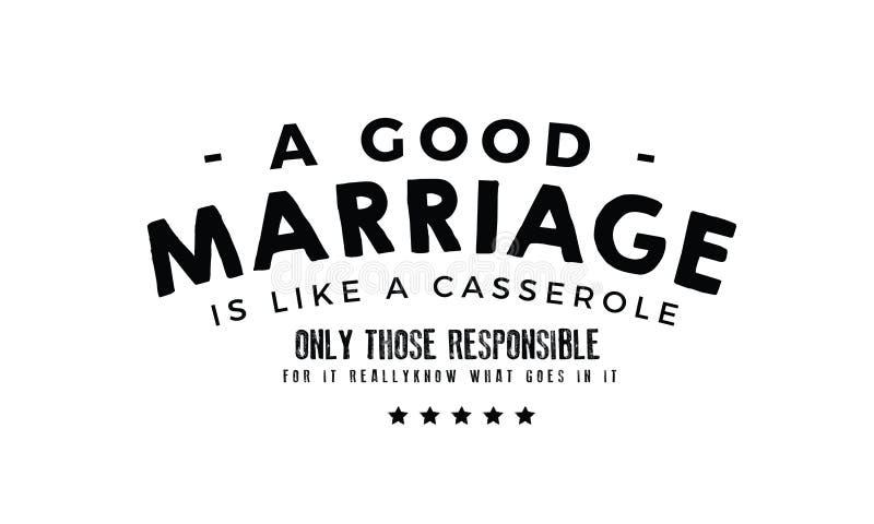 Een goed huwelijk is als een braadpan stock illustratie