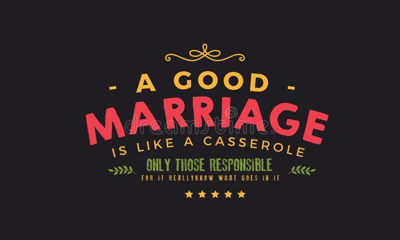 Een goed huwelijk is als een braadpan vector illustratie