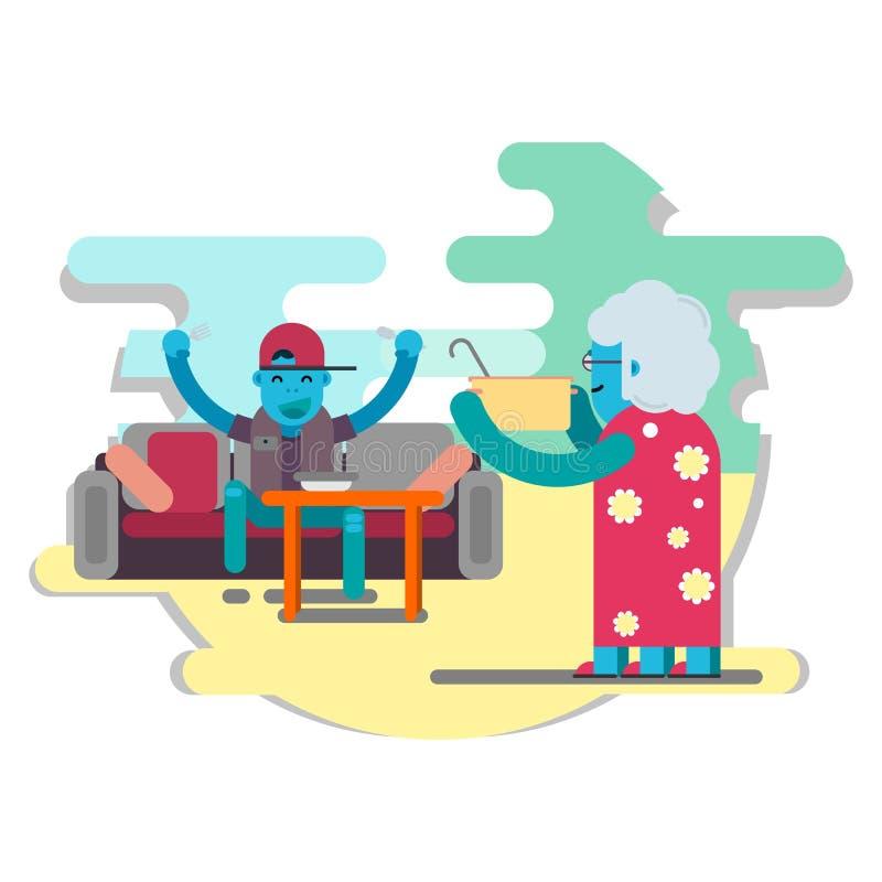 Een goede buitenaardse grootmoeder voedt haar gelukkige kleinzoon met borsjt Vector illustratie royalty-vrije illustratie