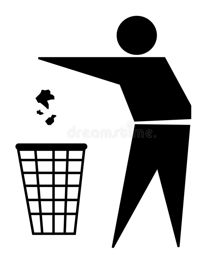 Een goede burger: afval teken vector illustratie