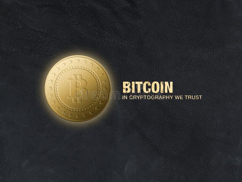 Een gouden muntstuk met een bitcointeken op een zwarte leerachtergrond royalty-vrije illustratie