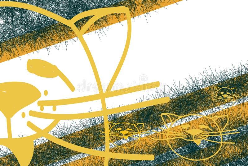 Een gouden schets van kattenhoofden op een achtergrond van groene chaotische slagen, oranje strepen en een witte achtergrond royalty-vrije illustratie