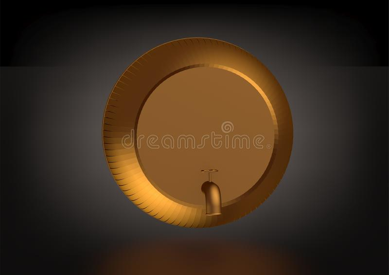 Een gouden vat op een zwarte royalty-vrije illustratie