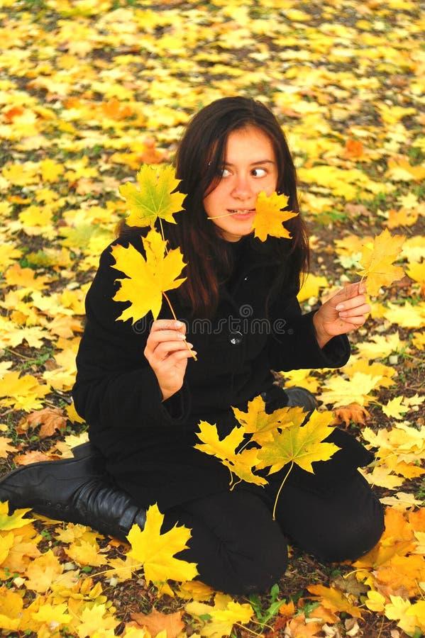 Een grappig jong aantrekkelijk meisje heeft pret en het voor de gek houden rond in een de herfstpark Vrolijke emoties, de herfsts royalty-vrije stock afbeelding