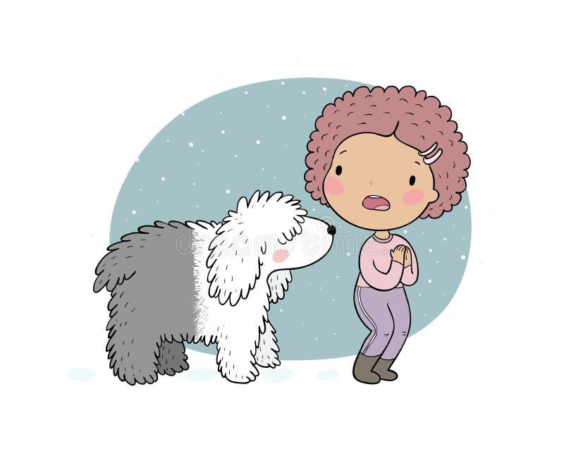 Een grappig meisje en een grote witte hond Doen schrikken vrouw en bobtail - Het vector vector illustratie