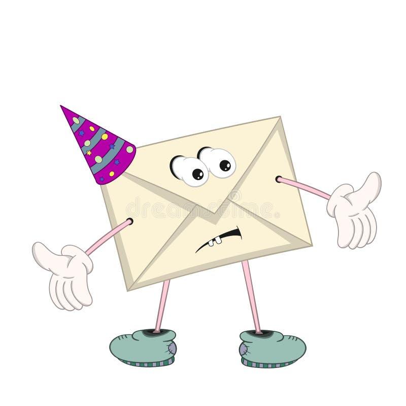 Een grappige beeldverhaal gele brief in een feestelijk GLB met ogen, handen, voeten en mond toont emotieverwarring stock illustratie
