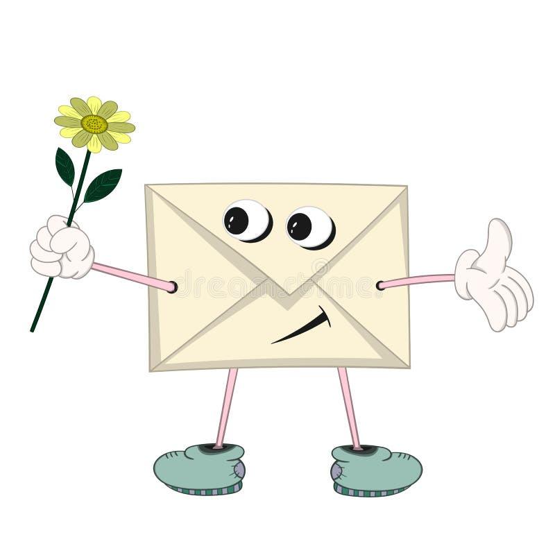 Een grappige beeldverhaal gele brief met ogen, armen, benen en mond houdt een gele bloem in zijn hand en glimlacht stock illustratie