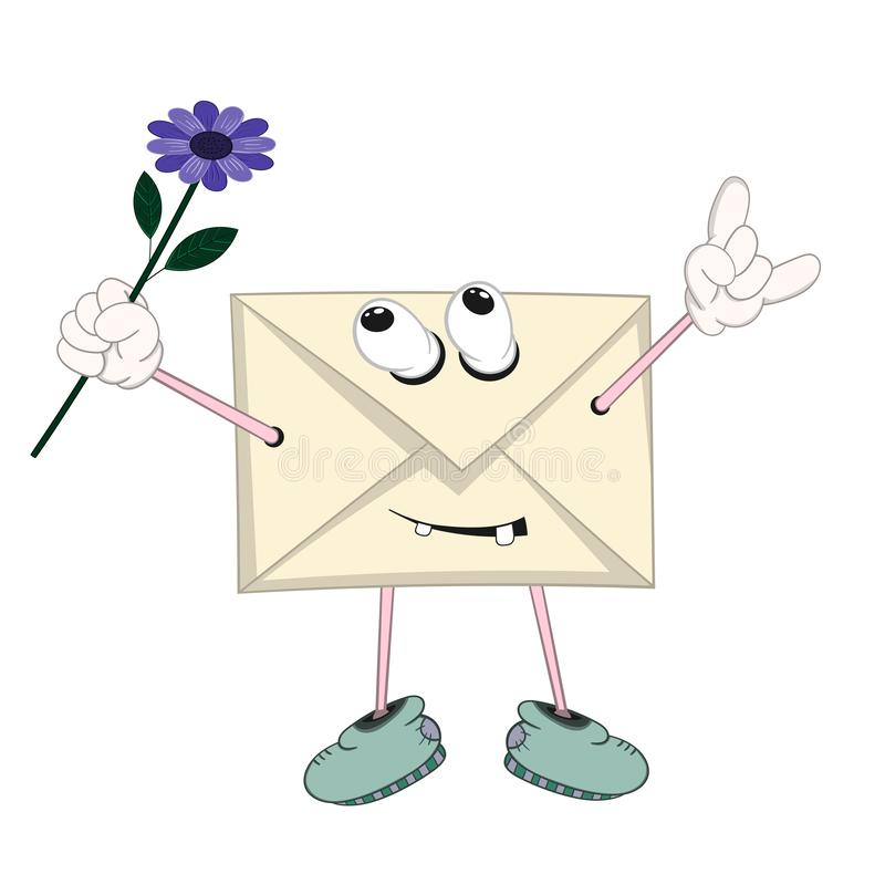 Een grappige beeldverhaal gele brief met ogen, armen, benen en mond verheugt en heft zich een blauwe bloem op vector illustratie