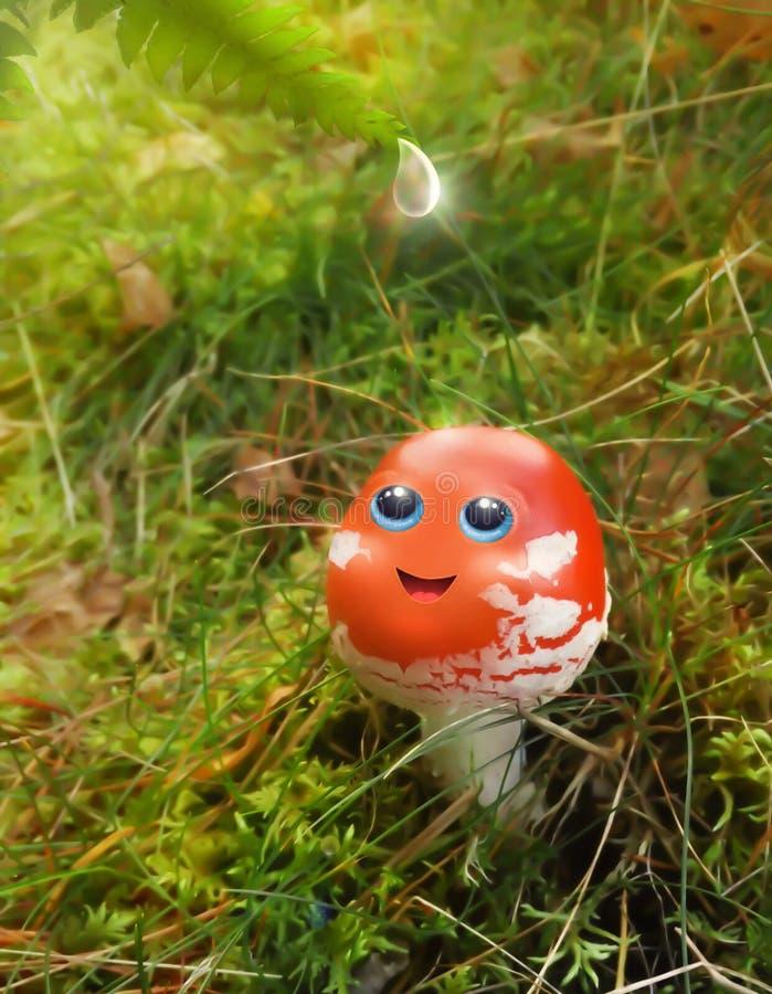 Een grappige kleine blauw-eyed amanietpaddestoel royalty-vrije stock foto