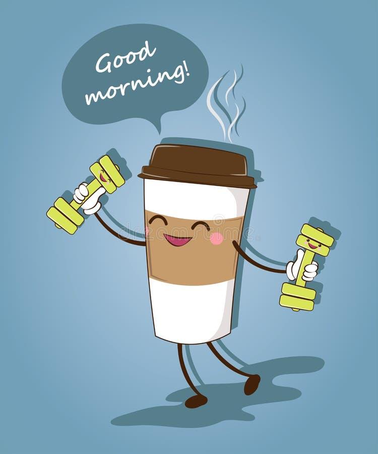 Een grappige kop van koffie Ouderwetse ochtendscène: antieke schrijfmachine, kop van verse koffie, bedrijfscontract en pen Vector stock illustratie