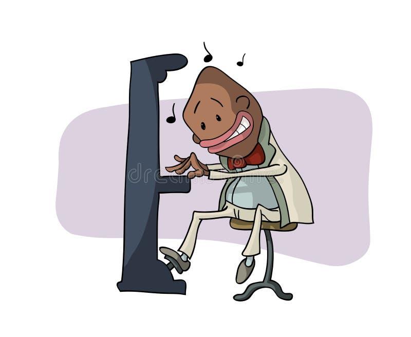 Een grappige pianist royalty-vrije illustratie