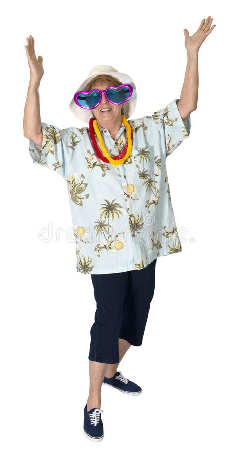 De grappige Rijpe Hogere Toerist van de Vrouw, Geïsoleerdet Reis, royalty-vrije stock afbeelding