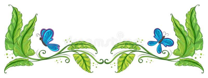 Een grens met vlinders vector illustratie
