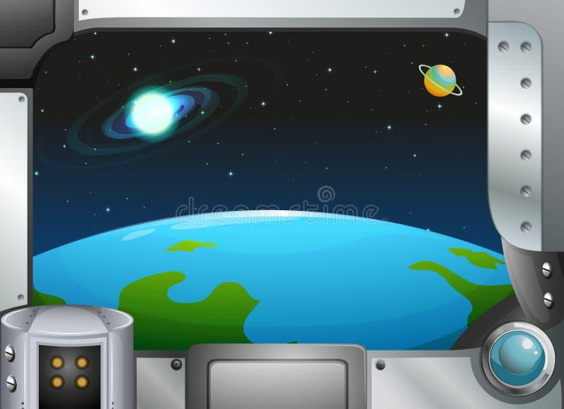 Een grens van het metaalkader met planeten vector illustratie