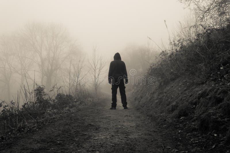 Een griezelig cijfer die met een kap zich op een weg van het land op een angstaanjagende mistige de wintersdag bevinden stock afbeeldingen