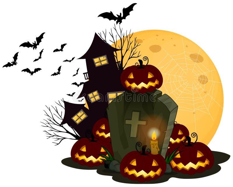 Een Griezelig Halloween-Thema op Witte Achtergrond vector illustratie