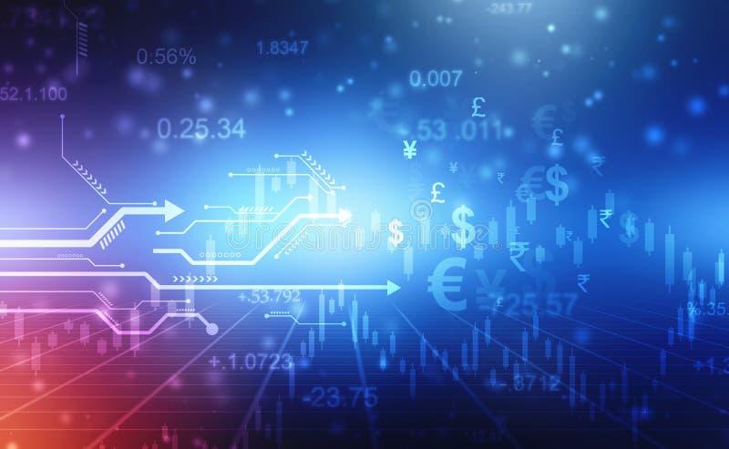 Een groeiend virtueel programma van statistieken, bedrijfsinvesteringen en handel in aandelen in de toekomst, royalty-vrije illustratie