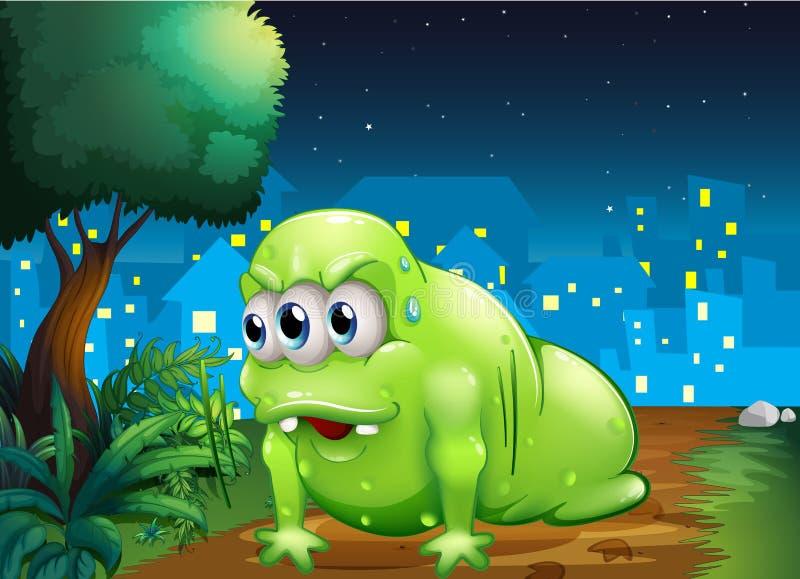 Een groen monster die bij de grond in de stad kruipen vector illustratie