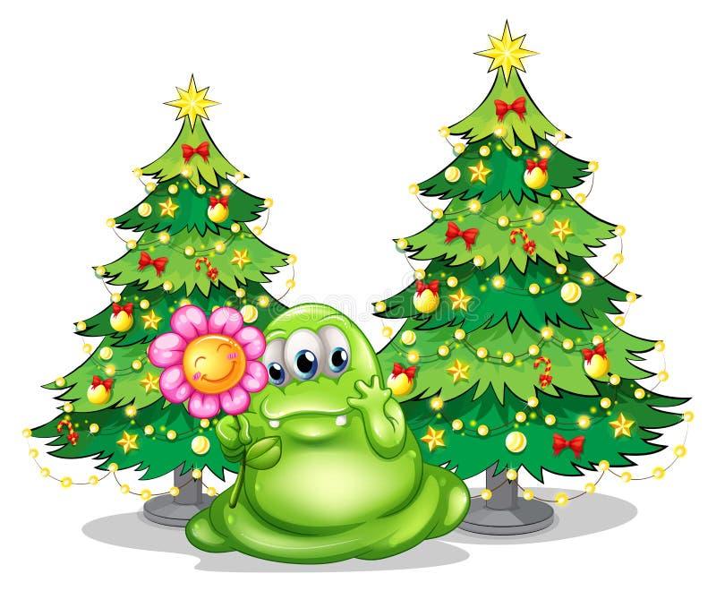 Een groen monster die een het glimlachen bloem houden royalty-vrije illustratie
