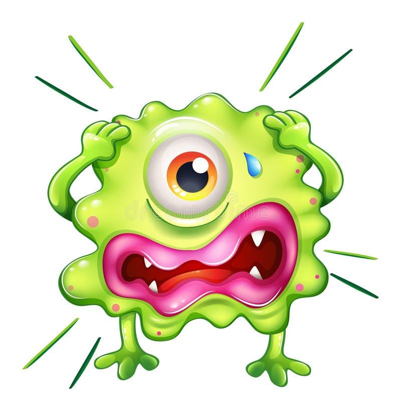 Een groen monster in frustratie stock illustratie