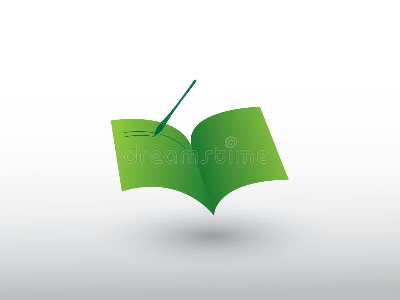 Een groen open notitieboekje met het schrijven van penembleem voor het opslaan van kennis en gegevens vector illustratie