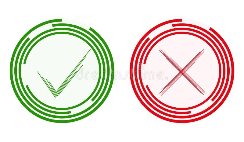 Een groene tik en een rood kruis, een verklaring en een ontkenning Groen en rood ja nr Abstracte groene tik en rood kruis stock illustratie
