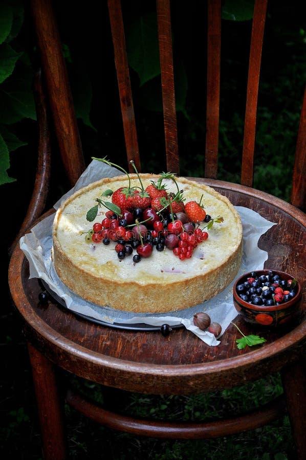 In een groene tuin in de aardvlaai met aardbeien en andere bessen royalty-vrije stock afbeeldingen