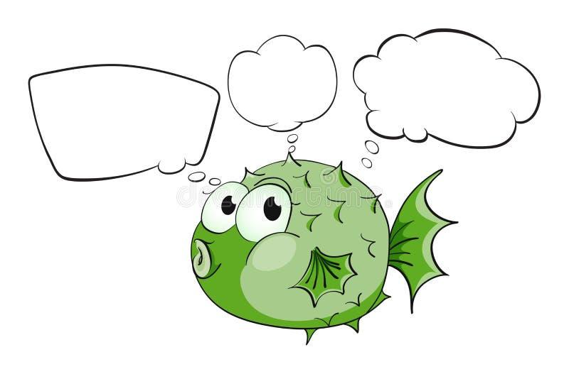 Een groene vis met lege callouts royalty-vrije illustratie