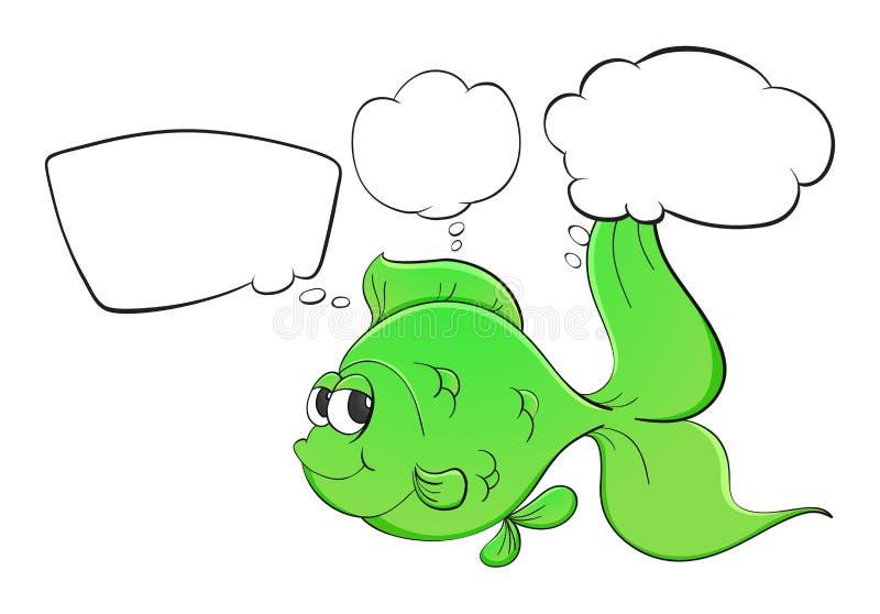 Een groene vis met lege callouts stock illustratie
