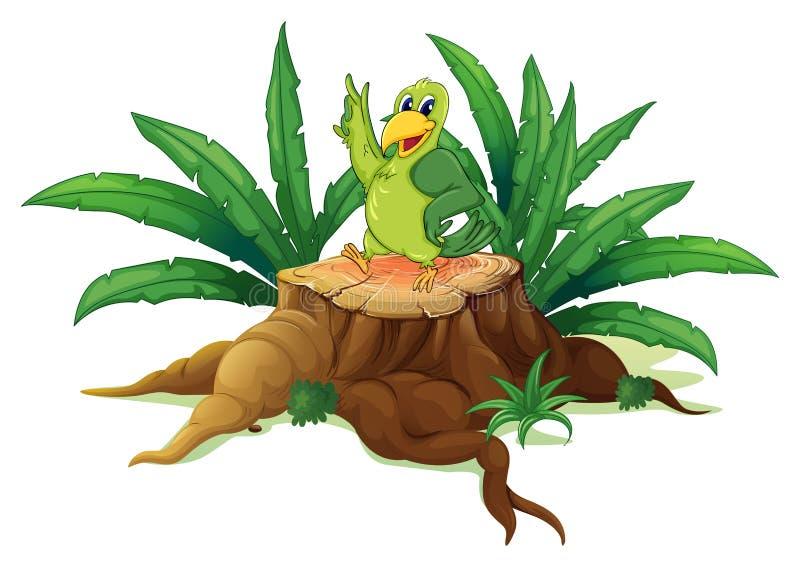 Een groene vogel die zich boven een hout bevinden royalty-vrije illustratie