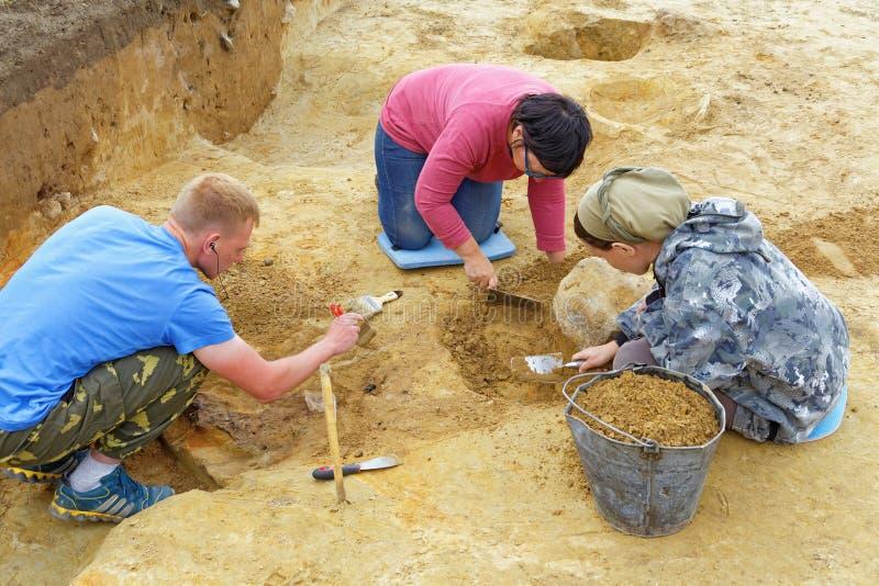 Een groep archeologen ontgraaft begrafenissen van het Ijzertijdperk royalty-vrije stock foto