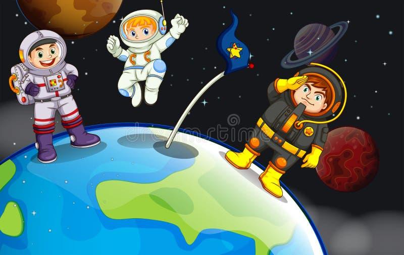 Een groep astronauten in outerspace royalty-vrije illustratie