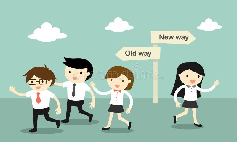 Een groep bedrijfsmensen die aan de oude manier lopen, maar zaken een andere vrouwengang aan de nieuwe manier vector illustratie