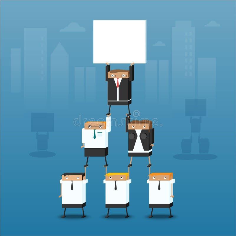 Een groep bedrijfsmensen werkt in een piramide samen vector illustratie