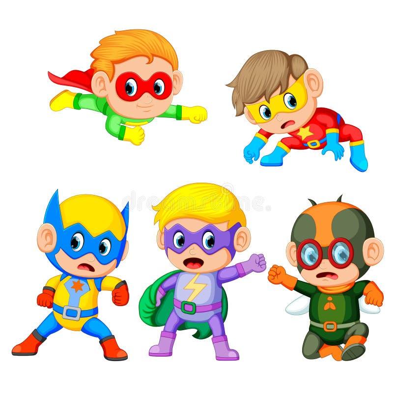 Een groep de leuke kinderen gebruikt het super heldenkostuum stock illustratie