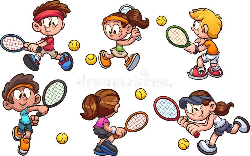 Een groep die beeldverhaaljonge geitjes tennis spelen vector illustratie
