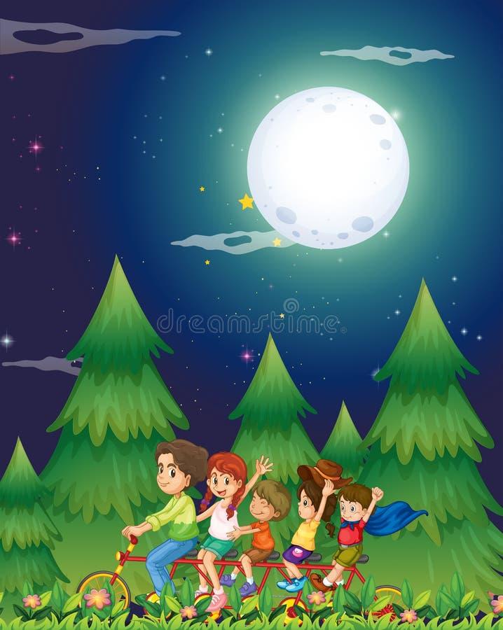 Een groep die mensen in het midden van nacht biking stock illustratie