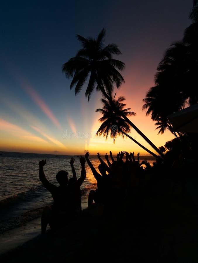 Een groep die mensen op de zonsondergang letten met dient de lucht en de palmen in stock fotografie