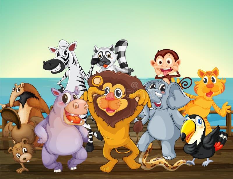 Een groep dieren bij de zeehaven stock illustratie
